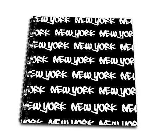 New York Words Photo - 3dRose db_157615_1 New York Text Design-White Words on Black-Ny City Souvenir Nyc Cool Urban Graffiti Font Pattern-Drawing Book, 8 by 8-Inch