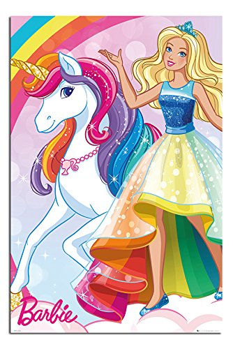 Barbie Unicorn Poster Satin Matt Laminated - 91.5 x 61cms