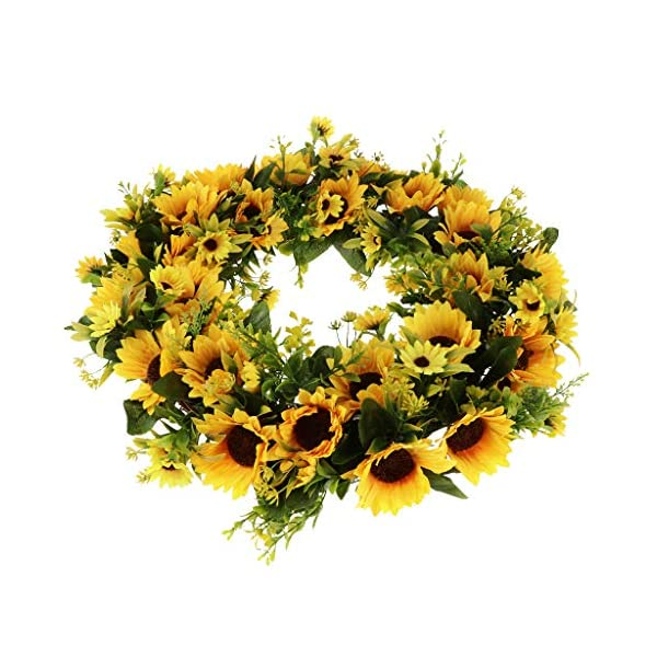 Serenable Sunflower Wreath for Front Door, 16.5 inch Artificial Sun Flower Greenery Garland for Home Decoration, Spring & Summer Kitchen Decors