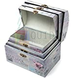 New Set of 3 x Vintage Shabby Chic Storage Boxes Floral Good Luck with Messages