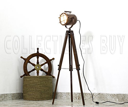 Vintage Copper finish antique Marine Tripod lamp portable office floor lamps Nautical Gift Items