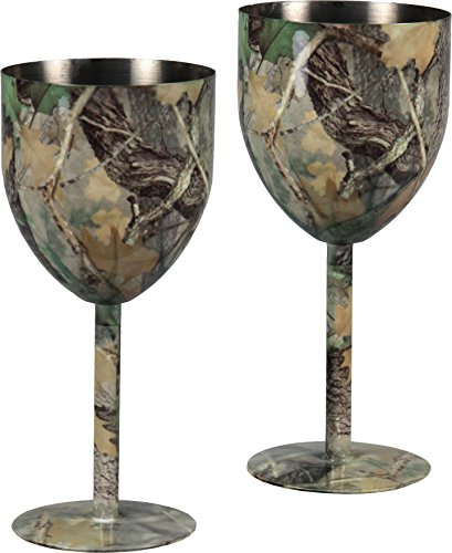 River's Edge Products Stainless Steel Camo Wine Glasses