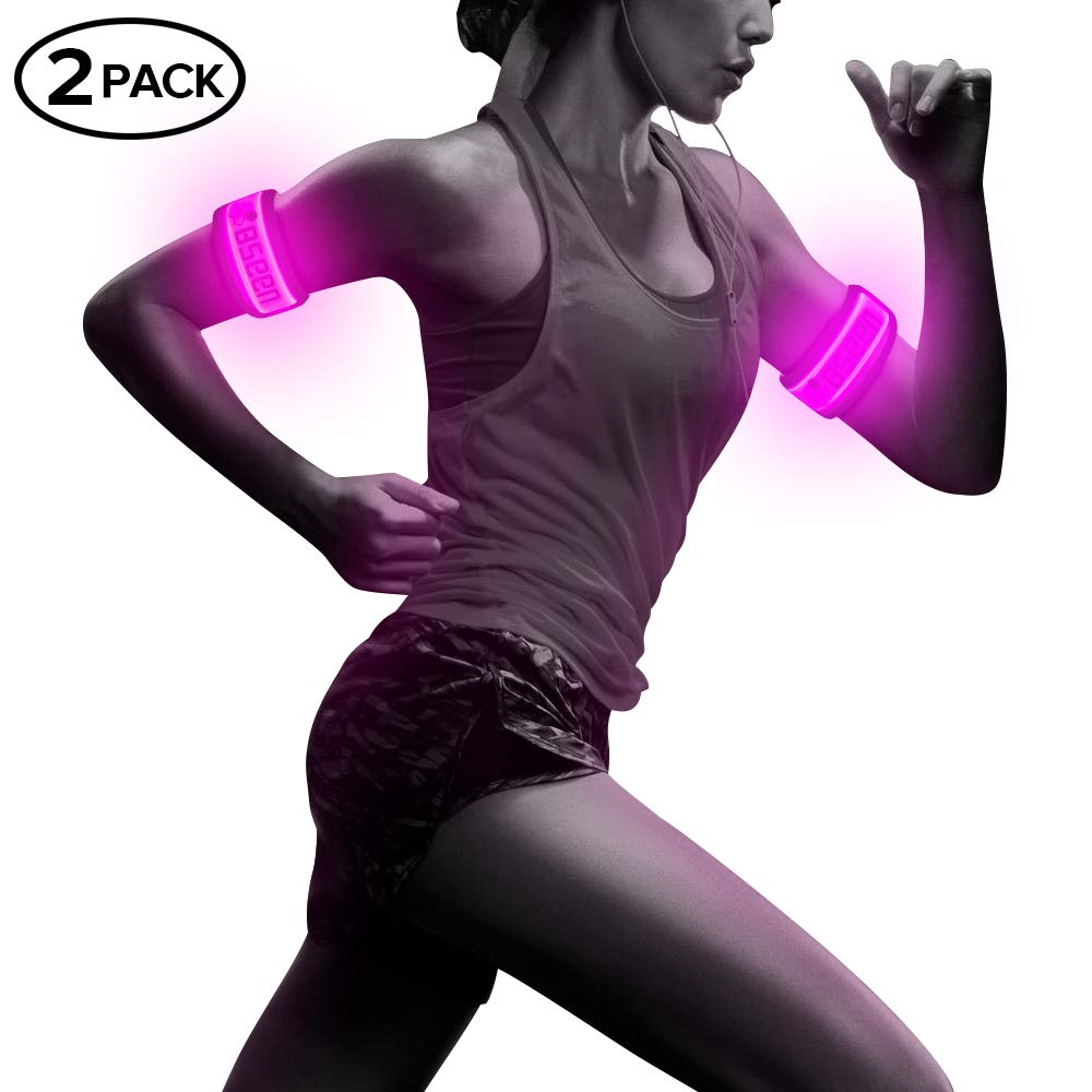Pack of 2pcs- LED Sports Saftey Flashing Reflective Armband with High Visibility Light up Glow in the Dark Bracelet for Cycling, Jogging, Walking and Running (pink) by BSEEN