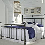 Fashion Bed Group Kensington Vintage Silver Queen Metal Headboard and Footboard with Stately Posts and Detailed Castings
