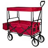 Best ChoiceProducts Folding Wagon with Canopy Garden Utility Travel Collapsible Cart Outdoor Yard