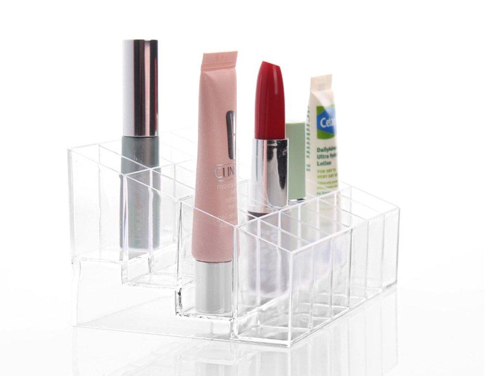 DaoRier 1pc Lápiz Labial Pomada de Labios Cepillo de Maquillaje Herramienta de Maquillaje Estuche Caja 24 Grids Organizador de Acrílico Transparente Claro