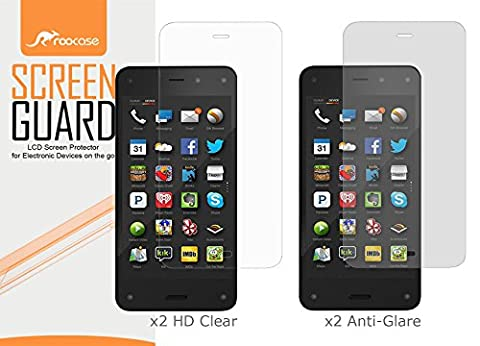 rooCASE Fire Phone Screen Protector, Amazon Fire Phone 4-Pack (x2 Anti-Glare Matte & x2 HD Clear) Screen Protectors Film Guard for Fire Phone [Lifetime Replacement (Fire Phone Screen Protector Moshi)