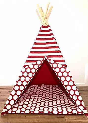 Amazon.com: Large Red And White Polka Dot Teepee Play Tent