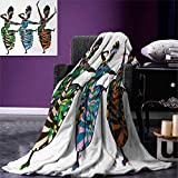 African Woman Super Soft Lightweight Blanket Religious Dance Performed by African Women in Traditional Ethnic Dresses Oversized Travel Throw Cover Blanket 90''x70'' Multicolor