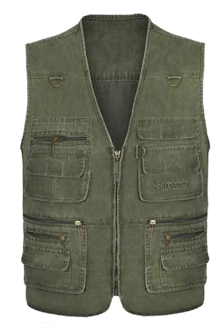 Freely Mens Textured Large Size Multi-Pockets Combat Fishing Vest