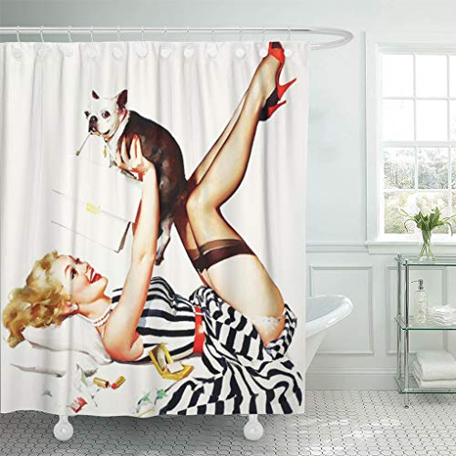 - Semtomn Shower Curtain Pin Retro Pinup Ups Vintage Puppies Animals Dogs Girl 66