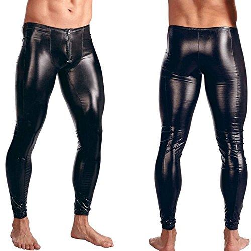 New Mens Leather Pants - Iffee Men's Faux Leather Tight Pants Man Leggings PVC Long Trousers Medium