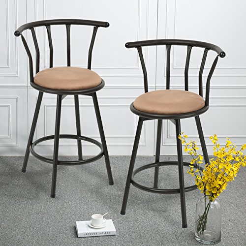 Amazing Metal Bar Stools Set Of 2 Swivel Round Seat Counter Height Short Links Chair Design For Home Short Linksinfo