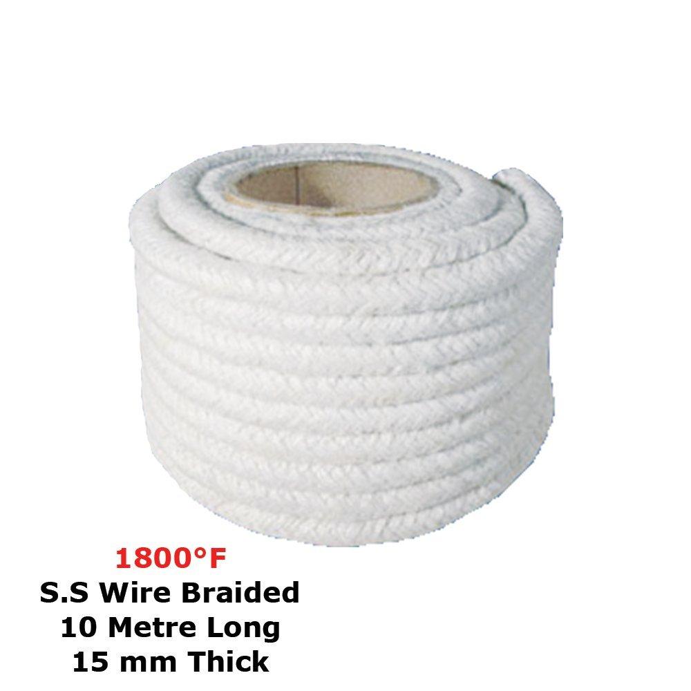 Ceramic Fiber Rope (1800 F, 15 mm) (S.S. Wire Braided) 10 Meter Long