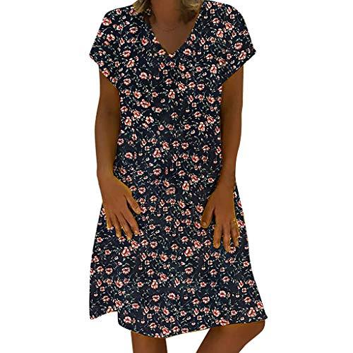 TUSANG Women Skirt Vintage Flower Printed V-Neck Short Sleeve Plus Size Casual Dress Loose Fit Comfy Flowy Dress(Navy,Navy)