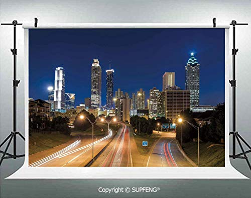 Photo Backdrop Image of Atlanta Skyline Twilight with Highway Buildings Skyscrapers Blurred Motion 3D Backdrops for Interior Decoration Photo Studio Props