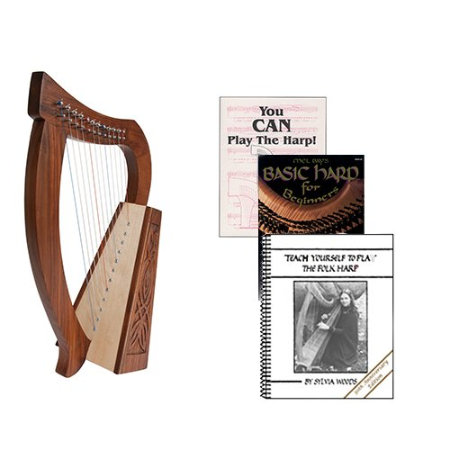 Homeschool Music Baby Harp w/Introduction to Harp Book Bundle + Teach Yourself Folk Harp Book by Homeschooling Harps