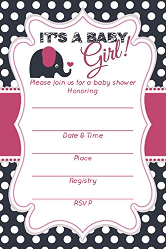 Amazon Com Baby Shower Invitations Girl Adorable Elephant
