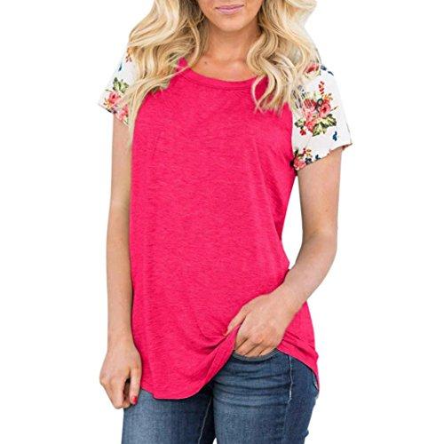 Oyedens Taglia Grossa T-Shirt Da Donna Casual Con Abbigliamento Donna Estate Maglietta Top Cerniera Moda Camicetta Floreale Stampare Manica Corta O-Collo S-2XL Rosa Caldo