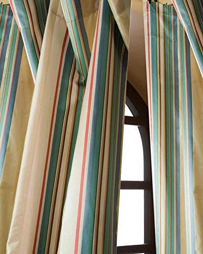 DS Ivory Silk Taffeta Torqouise Blue Satin Striped Living Room Window Lined Rod Pocket Curtain Panel Drape (52W X 96L)
