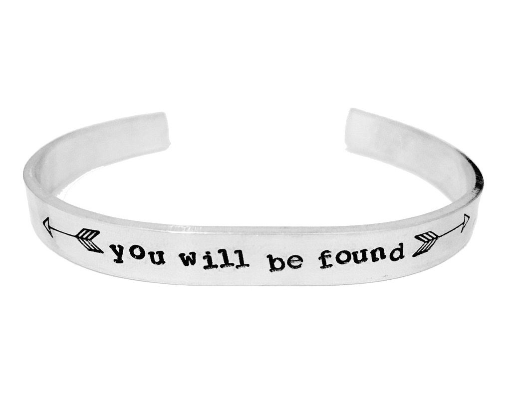Theatre Nerds 'You Will Be Found' Dear Evan Hansen Broadway musical inspired aluminum cuff bracelet