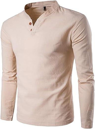YpingLonk Camiseta Hombre Más Terciopelo Collar de Henry Boton Manga Larga Color Sólido Calidad Camisa De Lino Separación Otoño e Invierno Casual La Camisa: Amazon.es: Ropa y accesorios