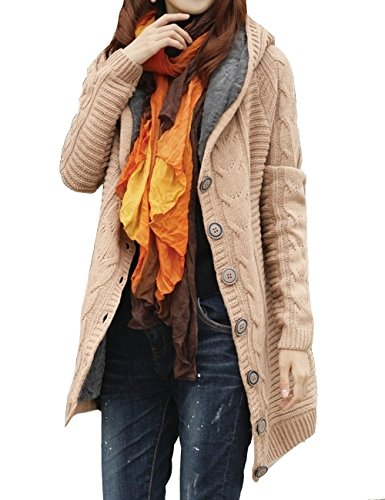 Aishang Women's Thick Warm Solid Cable Sweater Faux Fur Lined Hooded Cardigan Jacket (Lined Cardigan Sweater)