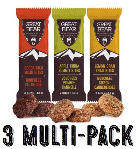 Great Bear Paleo Bites - 3 Bar Multi-Pack - Healthy Snacks - Nutrition Bars - 4.7oz - Organic - Gluten-Free - Vegan - Celiac - Peanut Free - School Safe - non GMO - Low GI Coconut Snack Cookies