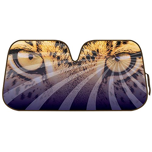 Price comparison product image Double Bubble Auto Sun Shade for Car SUV Truck - Mesmerizing Hypnotic Leopard Eyes - Jumbo Folding Accordion