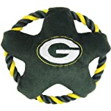 NFL GREEN BAY PACKERS Star Disk Flying Pet Toy with Tough Ropes & inner Squeaker for DOGS & CATS