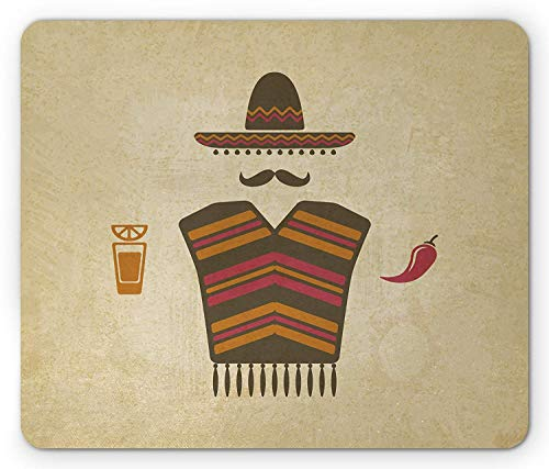 Mustache Mouse Pad, Authentic Mexican Conceptual Elements of Tequila with Lime Poncho and Chili Pepper, Standard Size Rectangle Non-Slip Rubber Mousepad, Multicolor