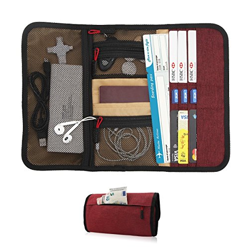 - Travel Gear Organizer with Passport Cash Card Slots - Maxjoy Travel Passport Wallet, Roll-up Electronics Accessories Organizer for USB Cables Chargers and Other Electronics Accessories, Red