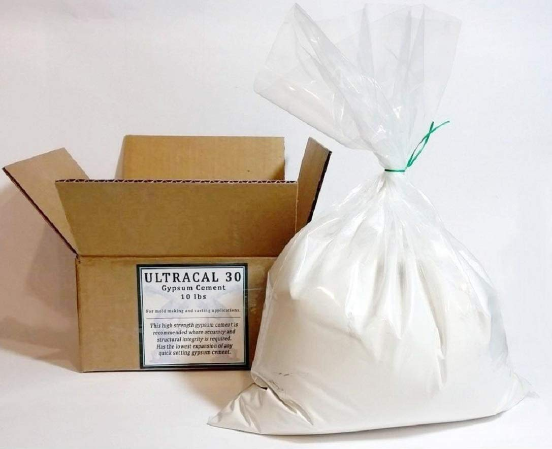 10 Lbs ULTRACAL 30 Gypsum Cement - Plaster - for Moldmaking and Casting, Ideal for Latex Molds! Takes Excellent Detail 51bbt3RKjnL