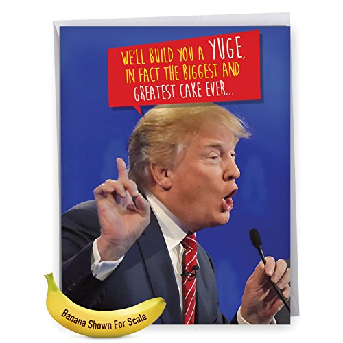 50th Birthday Greeting Cards (J4239BDGC Jumbo Humor Birthday Greeting Card: Trump Build A Yuge Cake; with Envelope (Large Size: 8.5