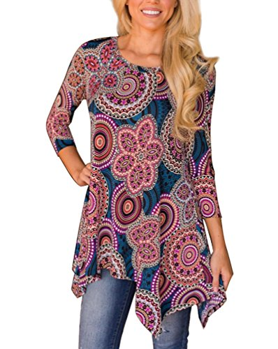 MIROL Womens Casual Fall Floral Print 3/4 Sleeve Tunic Loose Long Blouse Tops (X-Large, (Women Tunic Tops)