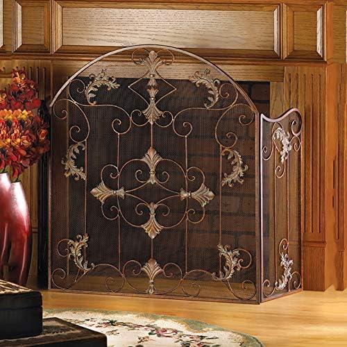 暖炉スクリーン 3-パネル錬鉄の暖炉の安全柵、赤ちゃんの安全火災ガード画面、錬鉄薪バーニングストーブアクセサリー