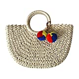 Hand-woven Straw Large Hobo Bag for Women Round Handle Ring Toto Retro Summer Beach (Beige)