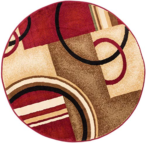Well Woven Barclay Arcs & Shapes Red Modern Geometric Area Rug 7'10'' Round