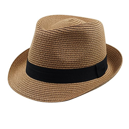 (Home Prefer Men's Straw Trilby Fedora Hat Short Brim Panama Resort Hat)