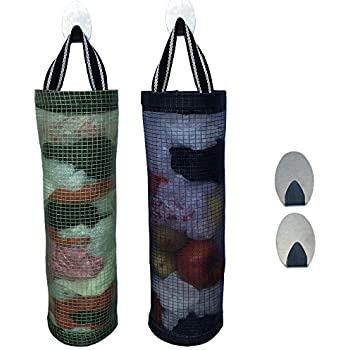 Plastic Bag Holder Dispensers 2pcs Folding Mesh Garbage Bags Hanging Storage Bag Trash bags Holder Organizer Recycling Grocery Pocket Containers with 2 ...
