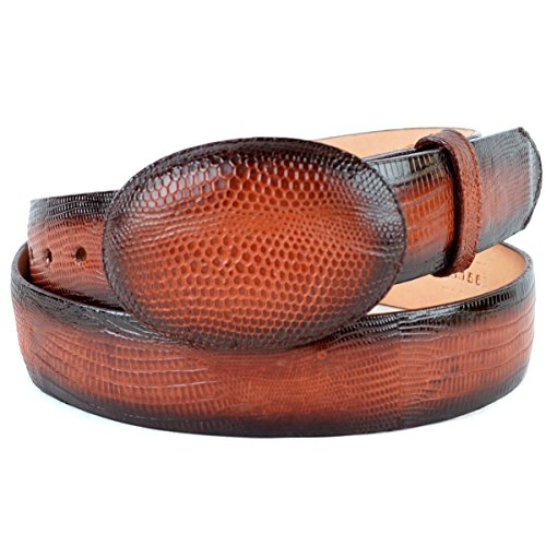 Original Faded Cognac Lizard Teju Skin Western Style Belt