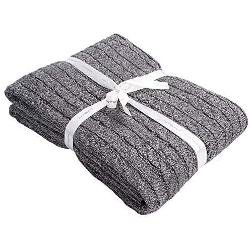 "NTBAY 100% Cotton Cable Knit Throw Blanket Super Soft Warm Multi Color(51""x 67"", Grey and White)"