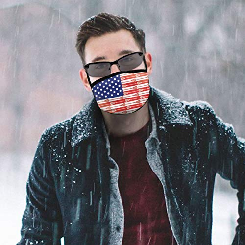 WOWRIGHT Washable Reusable Mouth Mask Anti Dust Half Face Mouth Mask for Men Women Dustproof with Adjustable Ear Loops(USA Lacrosse Sticks Flag)