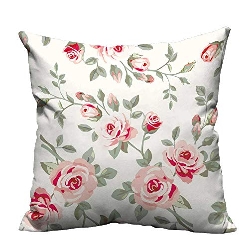 YouXianHome Zippered Pillow Covers Wallpaper with Roses Decorative Couch(Double-Sided Printing) 17.5x17.5 inch