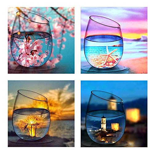 (4 Pack 5D DIY Diamond Painting Set Decorating Cabinet Table Stickers Crystal Full Drill Rhinestone Diamond Embroidery Paintings Pictures, Four Seasons Cup (9.8X9.8inch))