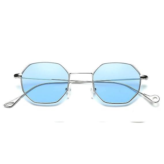 XuanhaFU Gafas de Sol Hexagonales Aleación y Resina ...