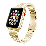 Sport Band for Apple Watch 38mm, Gotd Stainless Steel Strap Bracelet Wrist Band Replacement Watch Band For Apple Watch 38mm Series 3, Series 2, Series 1, Large Small, Men Women (Gold)
