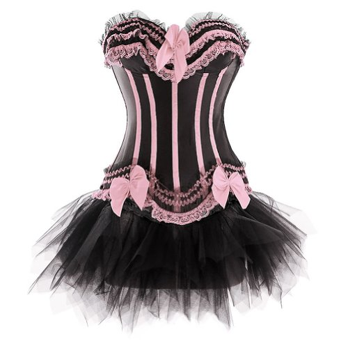 I-Glam Women's Burlesque Corset Lace Up Boned Bustier Black Pettiskirt
