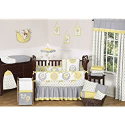 Sweet Jojo Designs Yellow, Gray and White Mod Garden Baby Girl Flower and Butterfly 9pc Crib Bedding Set Collection