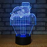 Bbdeng 3D Night Light Touch Color Change LED7 Color Energy-Saving Bedroom Decoration Children's Gift Optical Illusion Lighting USB Or Battery Mailbox Conventional